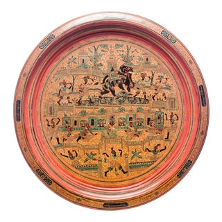 Antique Large Hand-Painted Red Burmese Lacquered Plate For Sale