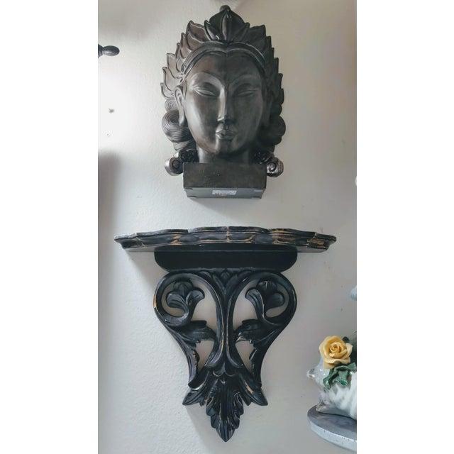Carved Ebonized Decorative Wood Wall Shelf and Buddah Head Bust - 2 Piece Set For Sale - Image 4 of 5