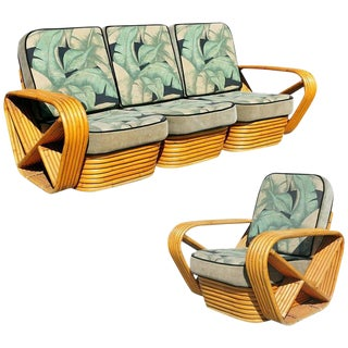 Restored Paul Frankl Style Sofa and Lounge Chair Set For Sale