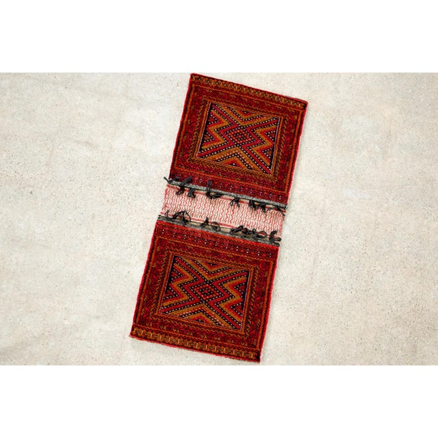 "Antique Balochistan Wool Tribal Saddlebag Rug - 1'8"" x 3'8"" For Sale - Image 5 of 12"