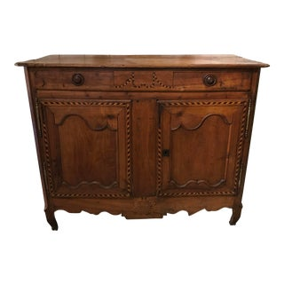 18th Century French Provincial Louis XV Inlaid Carved Cherry Sideboard For Sale