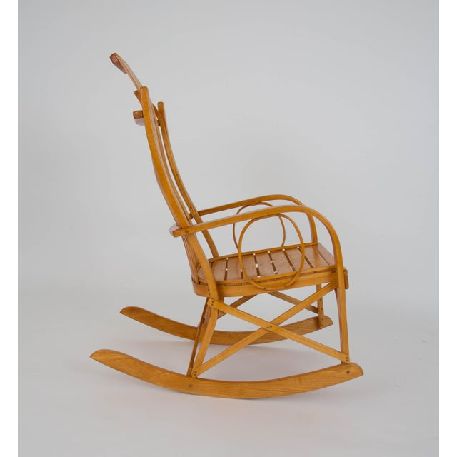 2000s Bentwood Adirondack Rocking Chair with Slatted Seat For Sale - Image 5 of 9