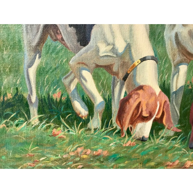 Americana Three English Fox Hound Dogs Fox Hunt Oil Painting For Sale - Image 3 of 8