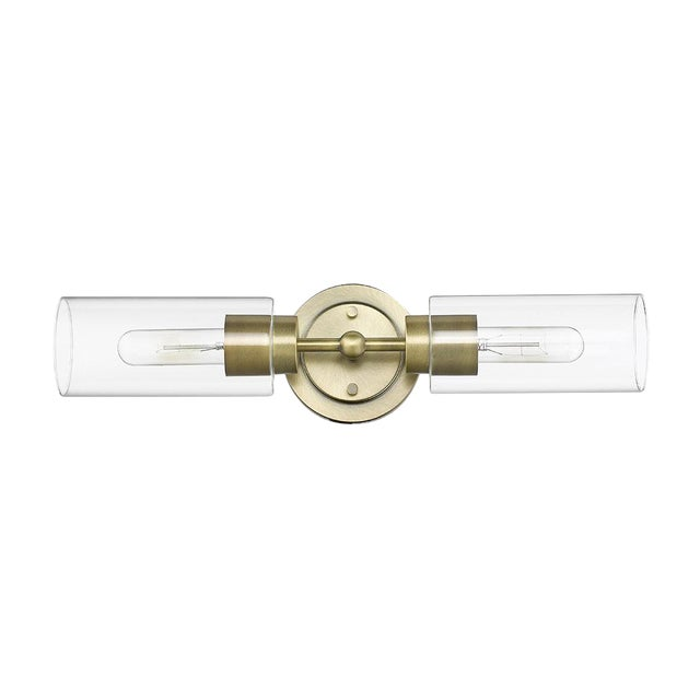 Brooklyn 2 Light Sconce/Vanity, Antique Brass For Sale