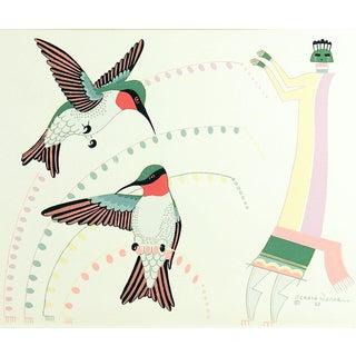 Gerald Nailor Navajo Hummingbirds & Figure Serigraph For Sale