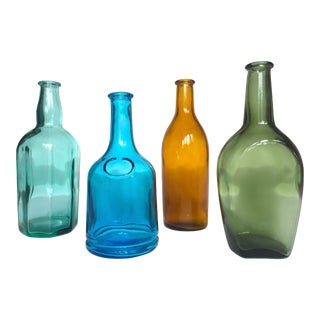 Vintage Mid Century Modern Japan Small Multi Colored Glass Bottles Collection - Set of 4 For Sale