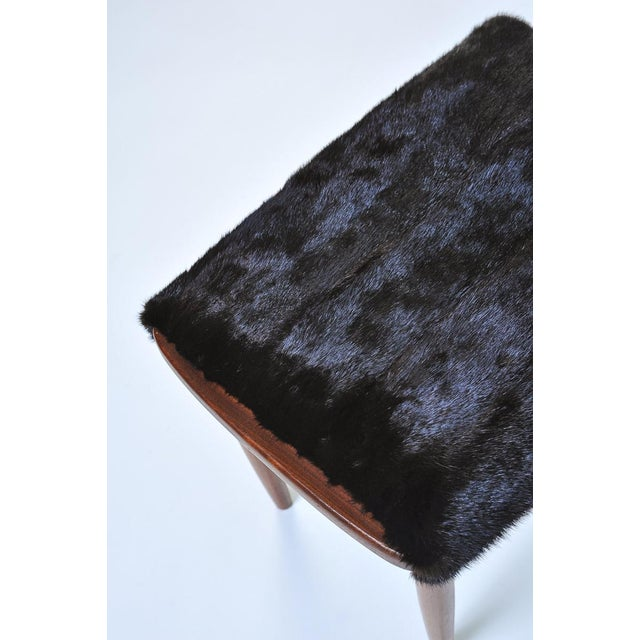 Mid-Century Modern Fur Covered Footstool For Sale - Image 4 of 5