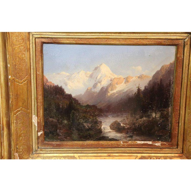 Italian Oil Painting Mountain Landscape With Golden Frame For Sale - Image 9 of 13