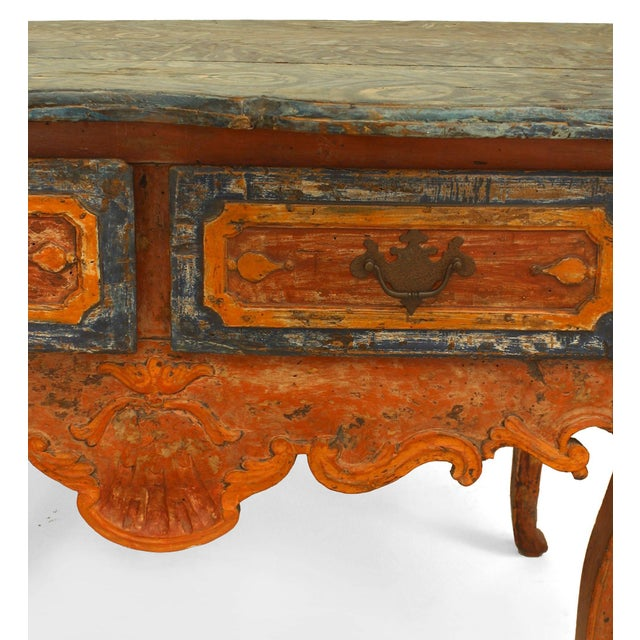 Rustic Rustic Continental 'Portuguese' 18th Century Orange and Blue Painted Commode For Sale - Image 3 of 7