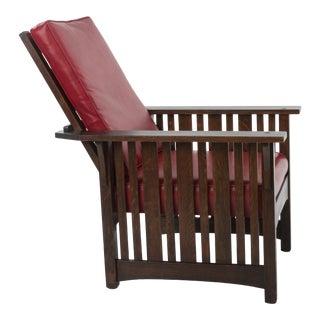 Antique Klaus Mfg Mission Arts & Crafts Slant Arm Slat Morris Chair Stickley Limbert Pinned Through Tenon Quarter Sawn Oak For Sale