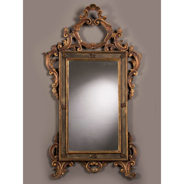 world class antique italian baroque style gilded and painted mirror