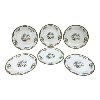 "Japanese Noritake Porcelain Dinner Dishes in ""Pheasant"" Pattern Circa 1920's - Set of 6 For Sale"