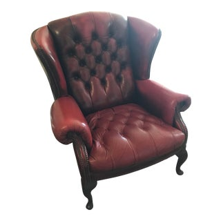 Red Leather Wingback Lounge Chair For Sale