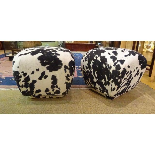 "Mid-Century Modern 1980s Karl Springer-Style Soufflé Poufs Upholstered in Black & White Faux ""Pony"" Print Velvet - a Pair For Sale - Image 3 of 7"