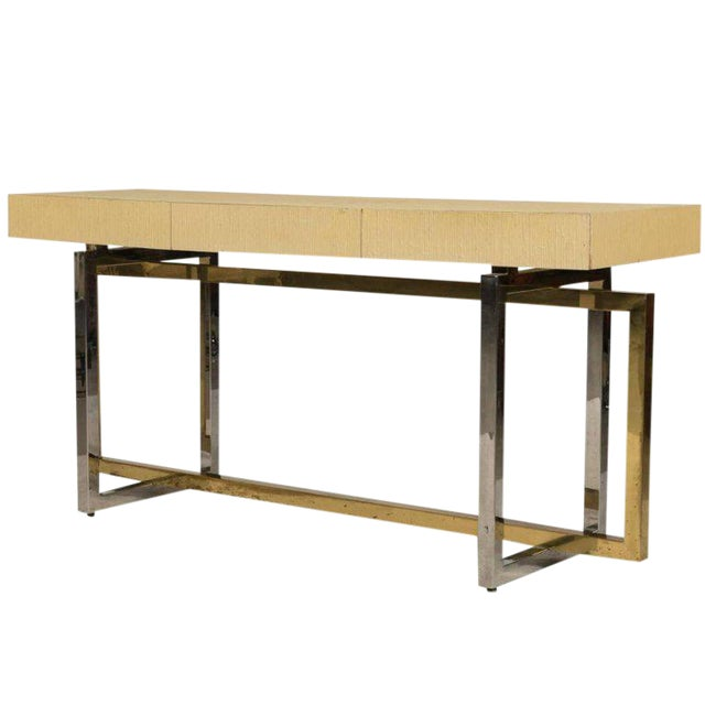 Modernist Chrome and Brass Based Console Table or Sideboard For Sale - Image 10 of 10