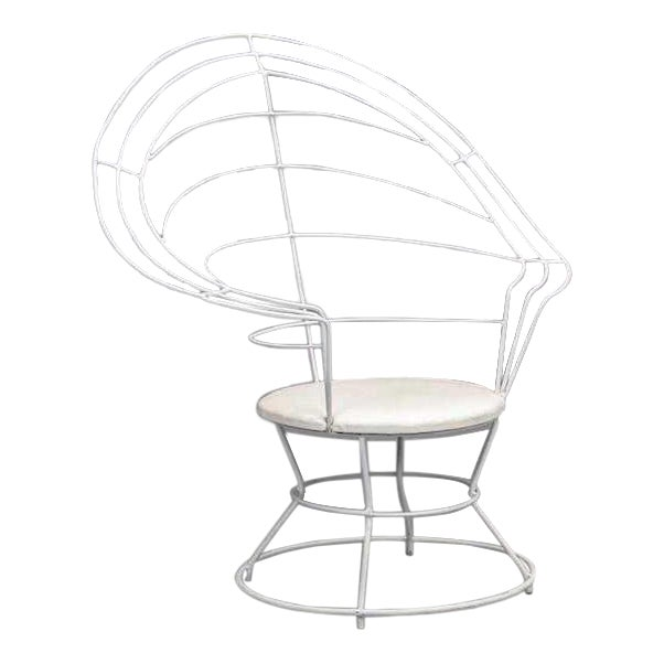 "Late 20th Century White Wire ""Peacock"" Chair For Sale"
