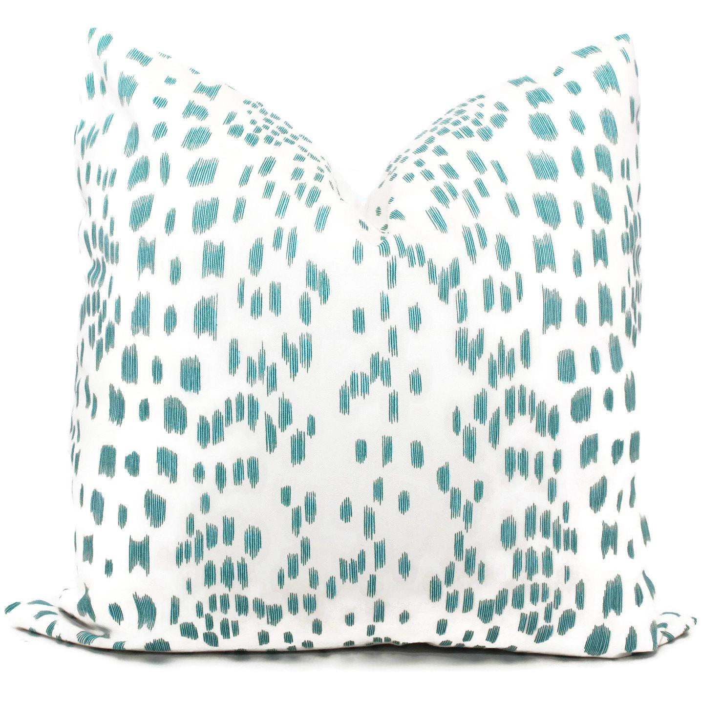 """20"""" x 20"""" brunschwig fils les touches aqua & white decorative pillow White Decorative Pillows"""