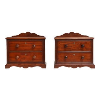 Antique English Miniature Mahogany Chests, Pair For Sale