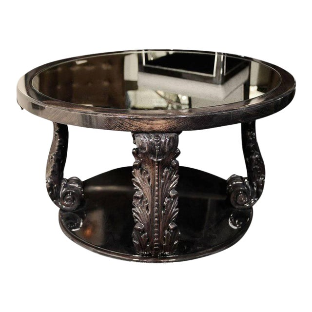 Exceptional 1940s Occasional Table with Carved Plumes by Grosfeld House For Sale