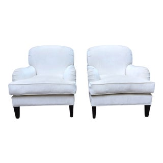 Barclay Butera Home White Somerset Club Chairs-a Pair For Sale