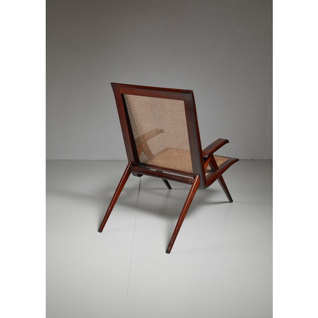 1950s Brazilian walnut armchair with woven cane seating For Sale - Image 5 of 6