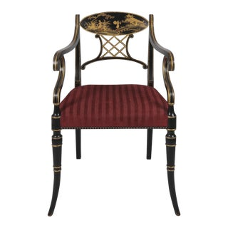 Vintage Regency Style Chinoiserie Armchair For Sale