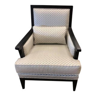 Contemporary Silver and Taupe Chair Espresso Finish. Mosel Home Furniture For Sale