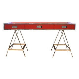Albrizzi Trestle Red Laminate Desk For Sale