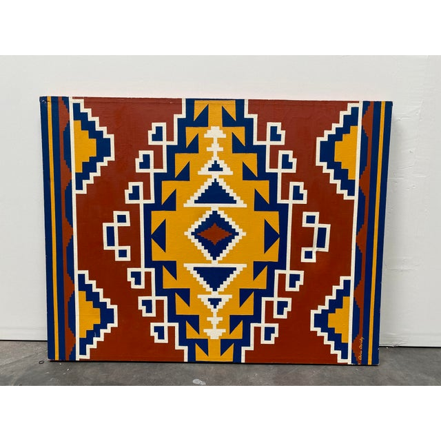 1970s Aztec Pattern Oil Painting For Sale - Image 4 of 4