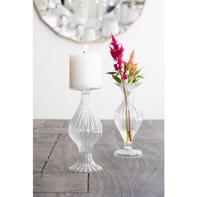 Elegant lines and a contemporary silhouette make the Ottico Glass Tall Bud Vase/Candleholder - Set of 2 a must have for...