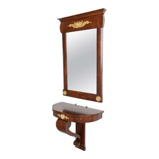 19th Century Austrian, Biedermeier Wall-Hung Demi Lune Console With Mirror For Sale