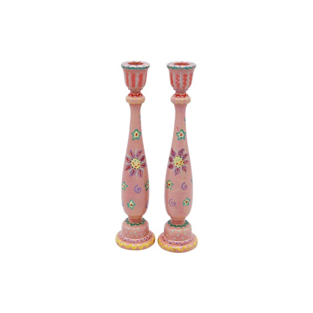 Hand Painted Wooden Candlesticks - a Pair For Sale In Boston - Image 6 of 6