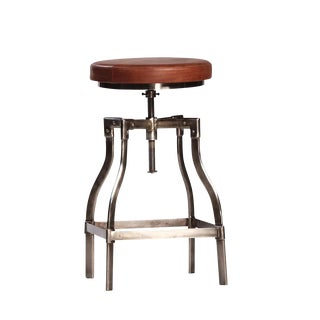 Leather Adjustable Counter or Bar Stool For Sale