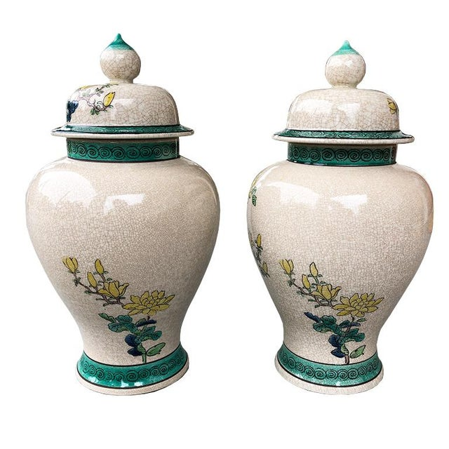 Late 20th Century Emerald Green and Yellow Floral Ceramic Ginger Jars or Urns With Lids 20th Century - a Pair For Sale - Image 5 of 6