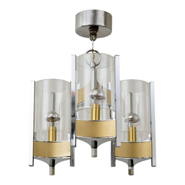 Sciolari Brushed Brass and Chrome Hurricane Glass Chandelier For Sale