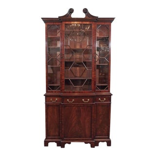 Antique English Mahogany Small Breakfront Bookcase For Sale
