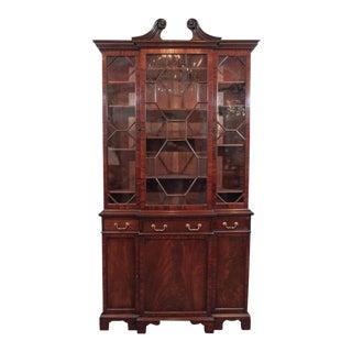 Antique English Mahogany Small Breakfront Bookcase