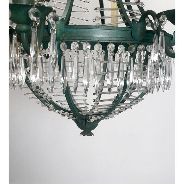 1920s Baltic Metal and Crystal 6 Light Chandelier, Sweden Circa 1920 For Sale - Image 5 of 7