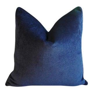"24"" Custom Tailored Midnight Deep Blue Velvet Feather/Down Pillow For Sale"