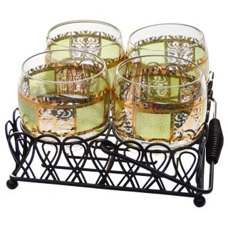 Midcentury Rocks Glasses & Caddy- 5 Pcs For Sale