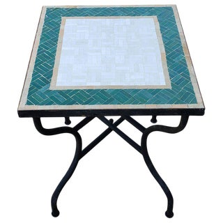 Moroccan White and Green Square Mosaic Dining Table For Sale