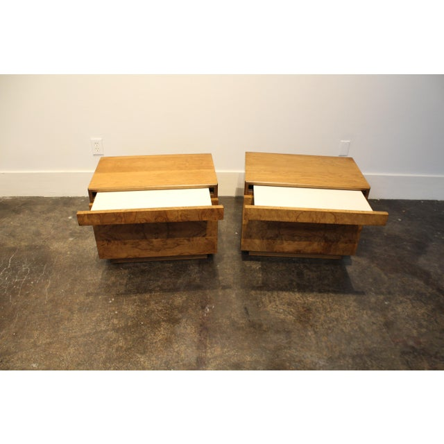 Mid-Century Modern Lane Furniture Milo Baughman Style Mid Century Modern Burl Wood Nightstands a Pair For Sale - Image 3 of 9