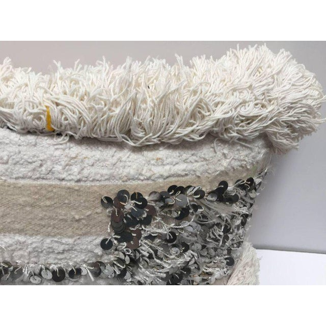 Textile Moroccan Wedding Pillow With Silver Sequins and Long Fringes For Sale - Image 7 of 10