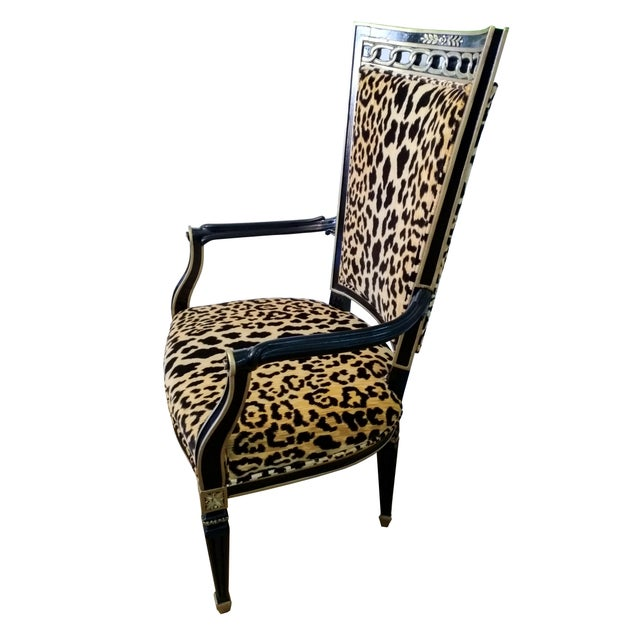 1930s Antique Leopard Velvet and Black Lacquered Occasional Chairs- a Pair For Sale - Image 5 of 6