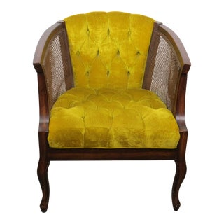 1970s Vintage Lewittes Walnut and Chartreuse Velvet Accent Chair For Sale