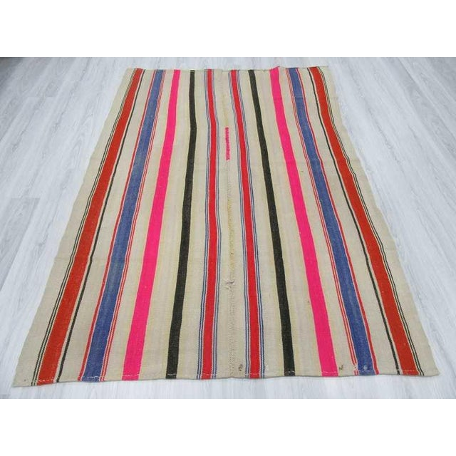 Vintage Colorful Striped Turkish Kilim Rug - 5′4″ × 7′8″ - Image 3 of 6