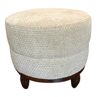 1930s Round Upholstered Pouf With Reeded Feet For Sale