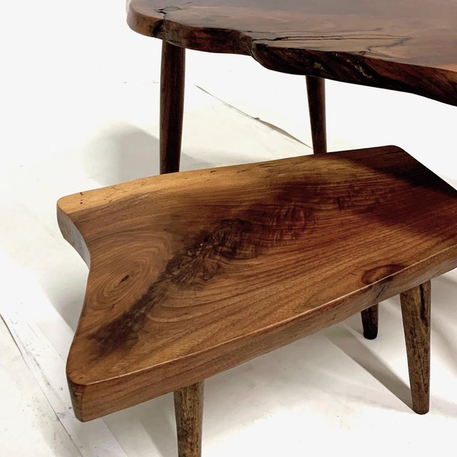 Wood Set of 3 Studio Craft Walnut Live Edge Roy Sheldon Tablesand Signed For Sale - Image 7 of 13