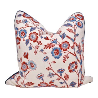 "Carolina Irving Textiles Square ""Malabar"" Hand Blocked Pillow For Sale"
