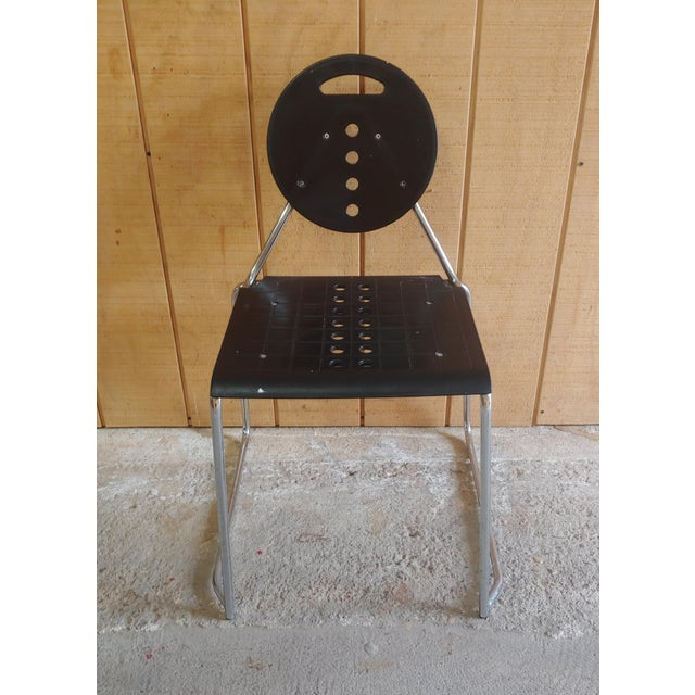 """1980s Memphis style """"Charlie"""" chair designed by Bimbi Gioacchini for Segis. Made in Italy. Heavy plastic seat and back on..."""